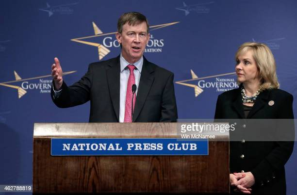 National Governors Association vice chairman Gov John Hickenlooper and National Governors Association chairwoman Gov Mary Fallin answer questions at...