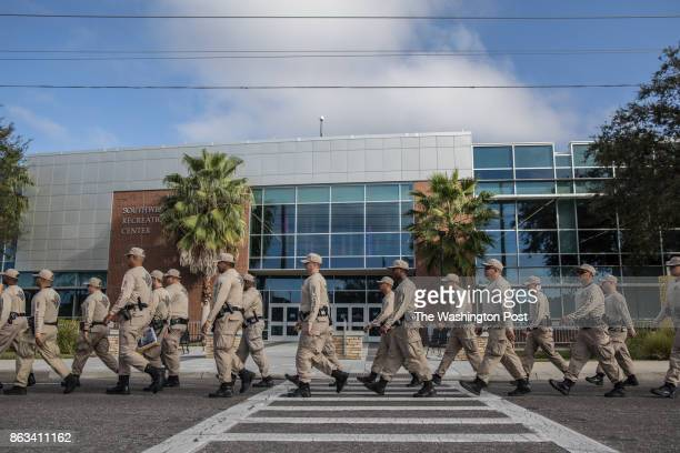 National guard arrives on the University of Florida campus ahead of Richard Spencer's speech, October 19 in Gainesville, Florida.