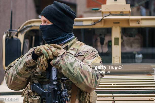 National Guard Citizen-soldier stands guard downtown on January 17, 2021 in Washington, DC. After last week's riots at the U.S. Capitol Building, the...