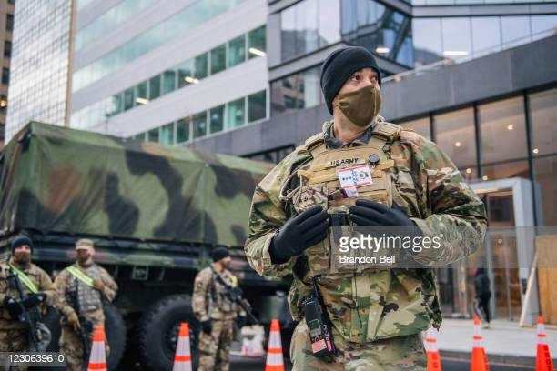 National Guard Citizen-soldier stands guard in downtown on January 17, 2021 in Washington, DC. After last week's riots at the U.S. Capitol Building,...