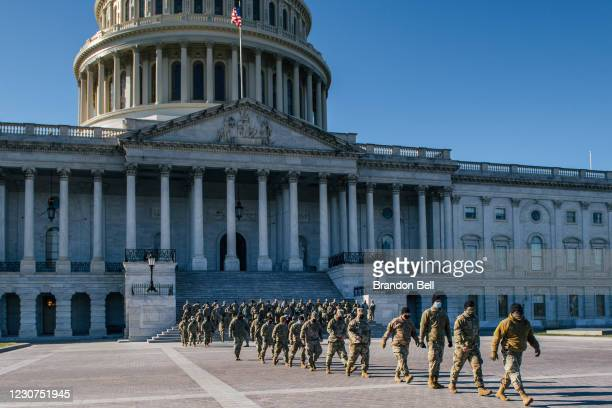 National Guard Citizen-soldiers exit after a U.S. Capitol tour on January 23, 2021 in Washington, DC. Due to COVID-19, Capitol tours had been...