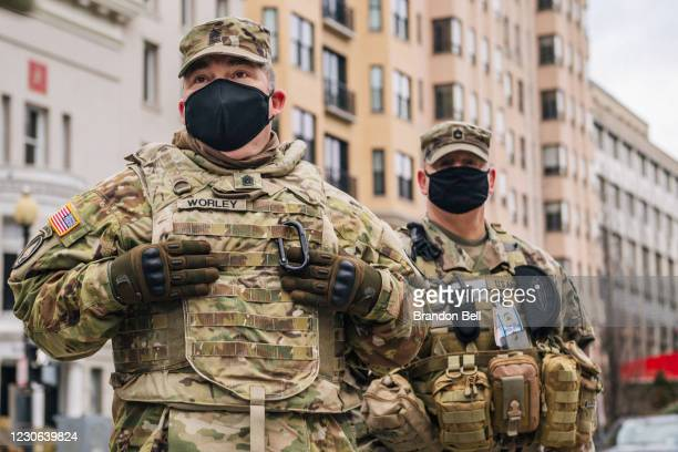 National Guard Citizen-soldiers listen during a meeting downtown on January 17, 2021 in Washington, DC. After last week's riots at the U.S. Capitol...