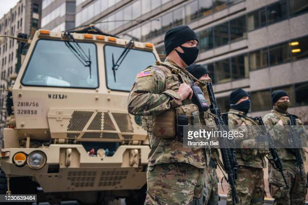 National Guard Citizen-soldiers listen during a meeting in downtown on January 17, 2021 in Washington, DC. After last week's riots at the U.S....
