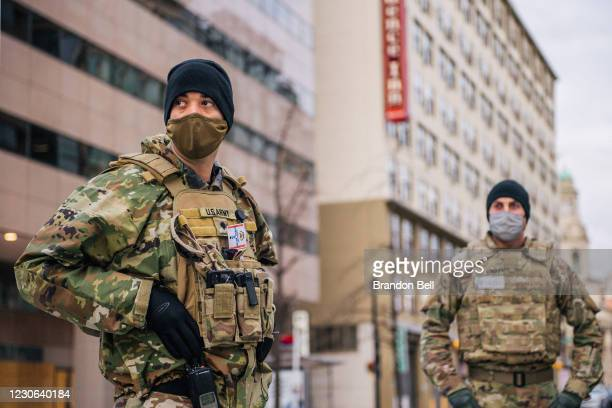 National Guard Citizen-soldiers stand guard downtown on January 17, 2021 in Washington, DC. After last week's riots at the U.S. Capitol Building, the...