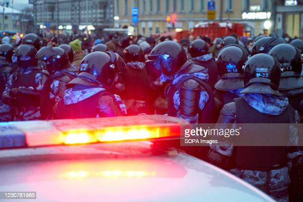 National Guard forces block the street during the demonstration. Rallies were held in the largest cities of Russia in support of the opposition...