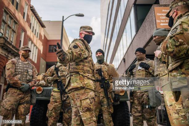 National Guard Lieutenant speaks with Guard Citizen-soldiers during a meeting downtown on January 17, 2021 in Washington, DC. After last week's riots...