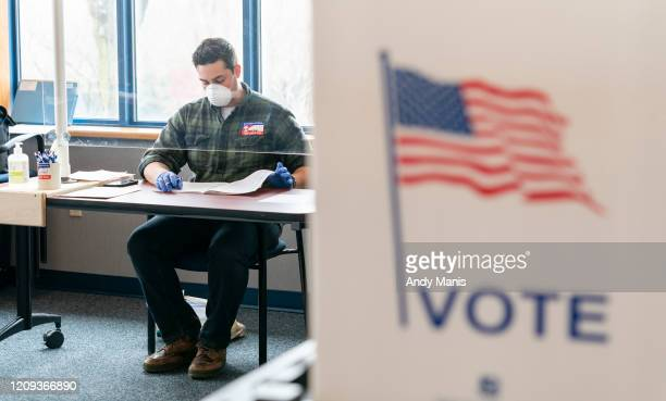 National Guard member works on election day at a polling location on April 7, 2020 in Madison, Wisconsin. Residents in Wisconsin went to the polls a...