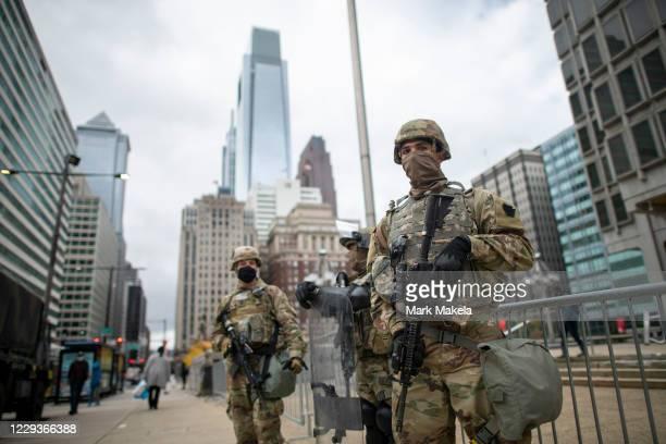 National Guard members patrol the area around Philadelphia City Hall on October 30, 2020 in Philadelphia, Pennsylvania. In response to widespread...