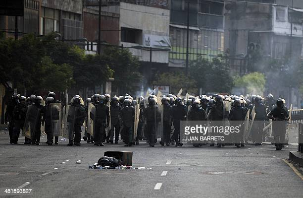 National Guard members take position during an antigovernment protest in Caracas on April 1 2014 President Nicolas Maduro's government has faced a...