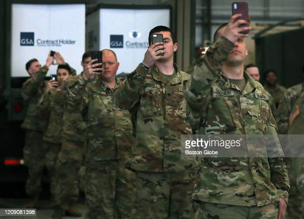 National Guard members who will be delivering the masks recorded the scene as the jet was being off loaded after a New England Patriots jet arrived...