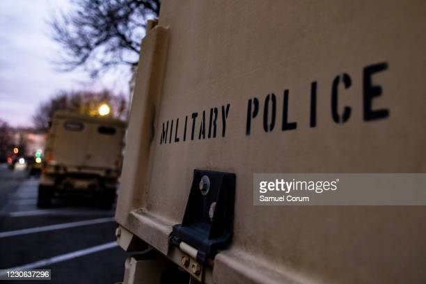 National Guard Military Police vehicles are staged around the grounds of the U.S. Capitol on the morning of January 17, 2021 in Washington, DC. After...