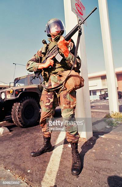 National Guard soldier in front of a Ralph's Grocery Store on Crenshaw Ave in South Central Los Angeles Los Angeles has undergone several days of...
