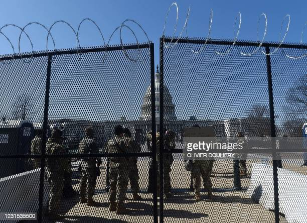 National Guard soldiers patrol outside the US Capitol on Capitol Hill, Washington, DC , March 5, 2021. - Armed US National Guard troops patrolled the...