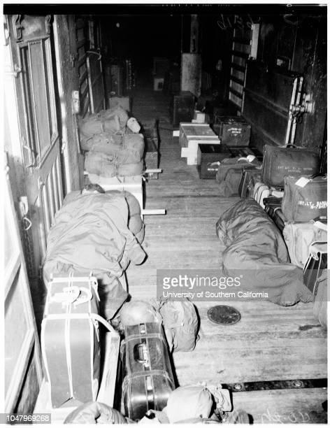 National Guard train series on transport enroute to Ft Masonferry pix March 29 1951 Howard Arrett Walter Hornback Emery Sunday Jack Moffett Ralph L...