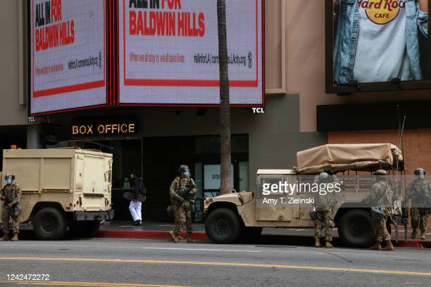 National Guard troops arrive in front of the box office to Grauman's Chinese Theatre branded as TCL Chinese Theatre at the Hollywood Walk of Fame...