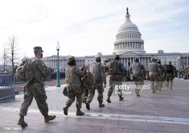 National Guard troops assemble outside of the U.S. Captiol on January 16, 2021 in Washington, DC. After last week's riots at the U.S. Capitol...