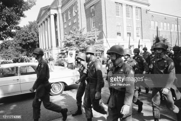National Guard troops deployed to the University of Alabama to force its desegregation, Tuscaloosa, Alabama, US, 11th June 1963.
