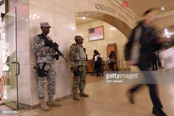 National Guardsman stand watch in Grand Central terminal on December 11 2017 in New York City Police said that Akayed Ullah an immigrant from...