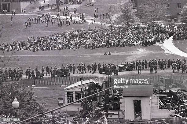 National guardsmen fire tear gas at students on campus of Kent State University in this May 4 1970 photo