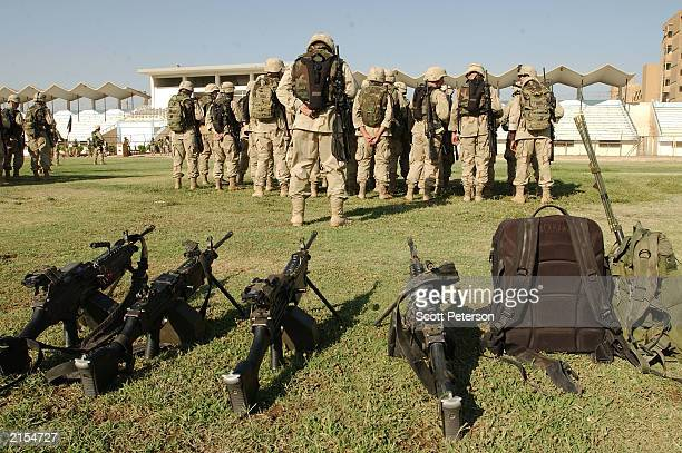 S National Guardsmen of the 3rd Battalion 124th Infantry Regiment a US Army Reserve unit from Florida attached to the 1st Armored Division are...