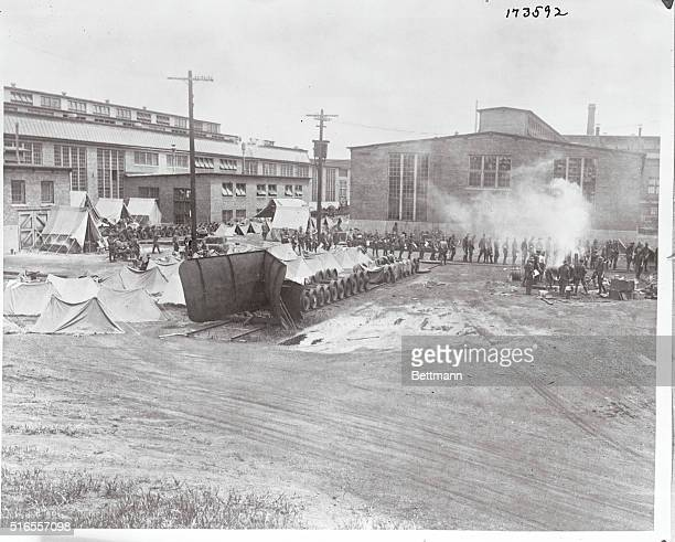National Guardsmen on Duty at Railroad Shops A view inside the Chicago and Alton Railway Yards and shops at Bloomington Ills where a detachment of...