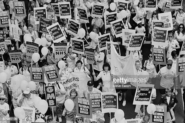 National Health Service workers demonstrate for a standardised national pay scheme London 26th July 1995