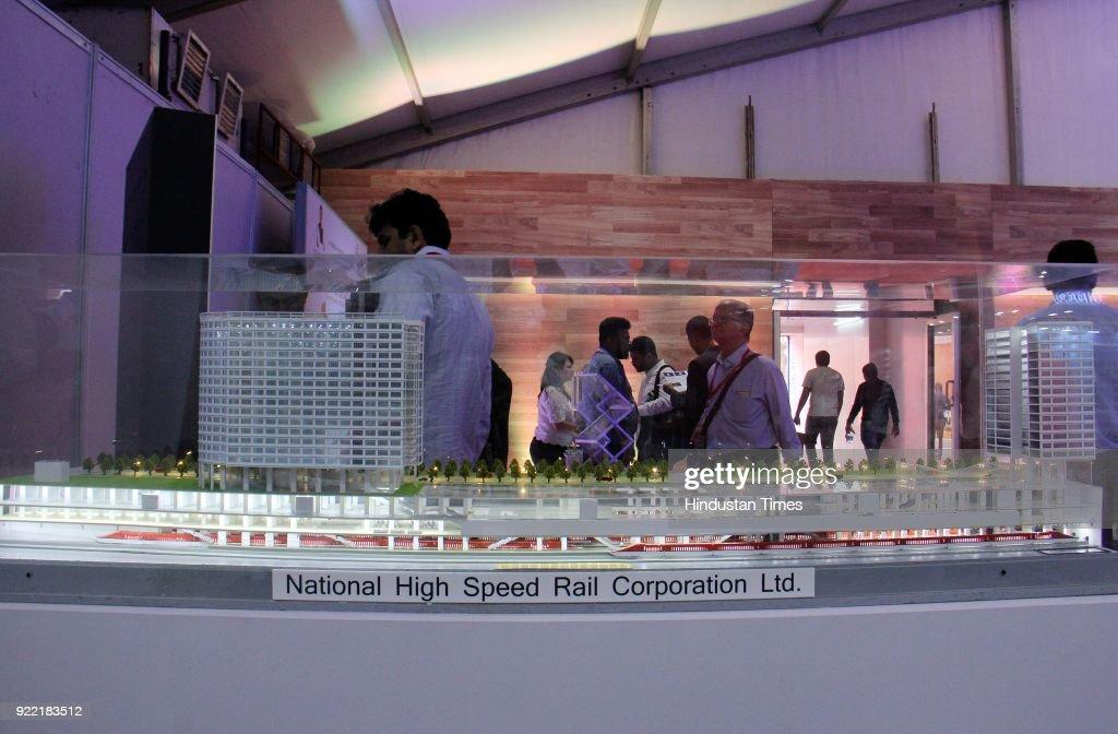 NHSRCL Displays A Replica Of Bullet Train At 'Magnetic Maharashtra' Convergence Summit 2018 : News Photo