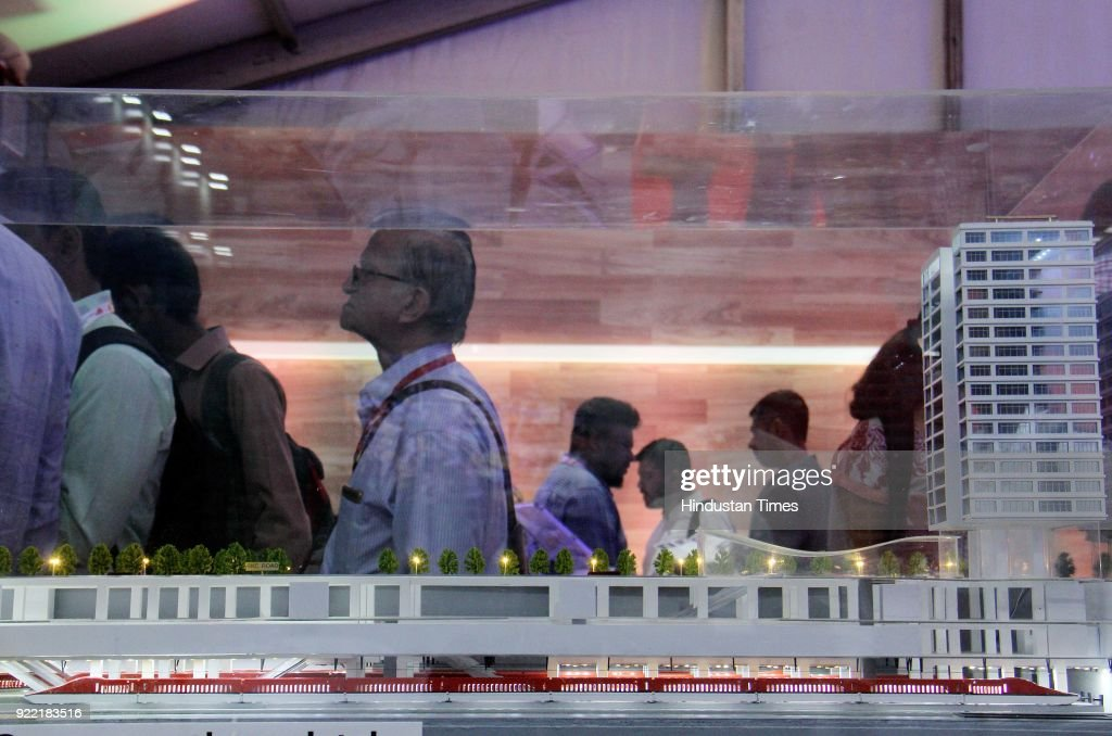 National High Speed Rail Corporation Ltd (NHSRCL) displayed a replica of Bullet Train which will run from Mumbai to Ahmedabad during 'Magnetic Maharashtra' Convergence Summit 2018 - Global Investor Summit at MMRDA, BKC, on February 20, 2018 in Mumbai, India.