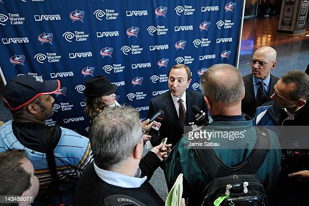 National Hockey League Commissioner Gary Bettman answers reporters questions after the 2013 NHL AllStar Game logo was revealed on April 27 2012 in...