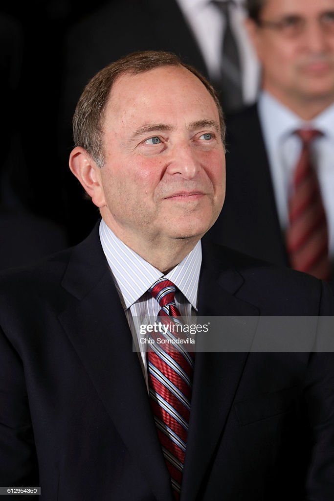 National Hockey League Commissioner Gary Bettman celebrates the Pittsburgh Penguin's Stanley Cup victory in the East Room of the White Hosue October 6, 2016 in Washington, DC. The Penguins defeated the San Jose Sharks in six games in the 2016 NHL Finals, the fourth time the franchise has won the Stanley Cup.