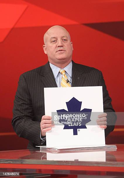 National Hockey League Deputy Commissioner Bill Daly announces the number five pick in the NHL Draft Lottery goes to the Toronto Maple Leafs on April...