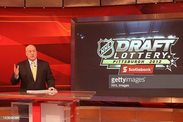 National Hockey League Deputy Commissioner Bill Daly announces the picks in the NHL Draft Lottery on April 10 2012 at the TSN Studios in Toronto...