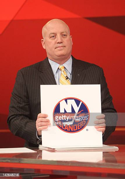 National Hockey League Deputy Commissioner Bill Daly announces the number four pick in the NHL Draft Lottery goes to the New York Islanders on April...