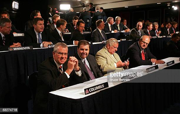 National Hockey League team representatives attend the NHL draft lottery at the Sheraton New York Hotel and Towers on July 22 2005 in New York City