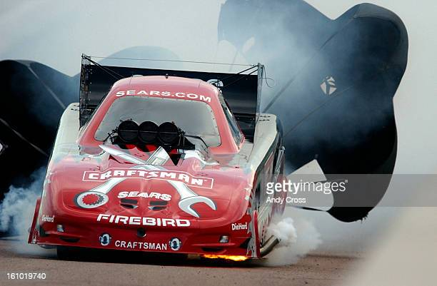 NHRA National Hot Rod Association Funny Car driver Dale <cq> Creasy <cq> Jr's <cq> car caught fire Sunday afternoon during the first round pass at...