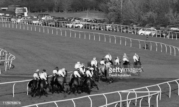 National Hunt Horse Racing at Warwick Race Course B&W atmospheric 19th November 1998.