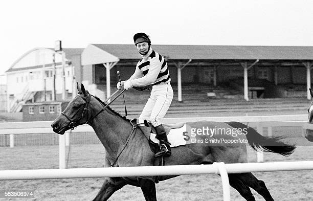 National Hunt jockey Jonjo O'Neill in high spirits prior to a race at Ayr racecourse in Scotland circa 1985