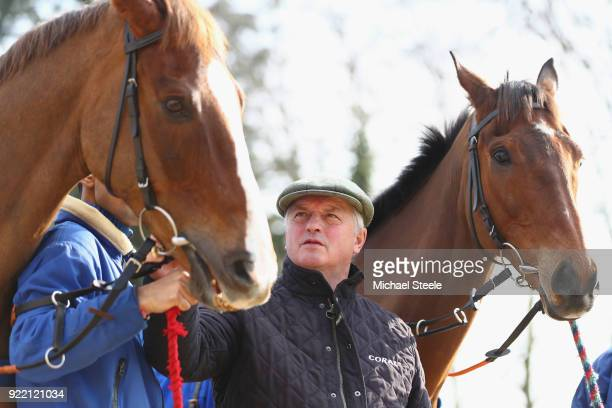 National hunt trainer Colin Tizzard alongside Cue Card and Native River during a media stable visit at Spurles Farm on February 21 2018 in Sherborne...