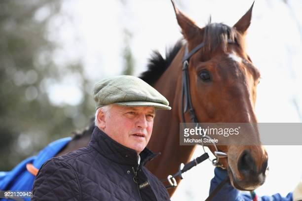 National hunt trainer Colin Tizzard alongside Cue Card during a media stable visit at Spurles Farm on February 21 2018 in Sherborne England
