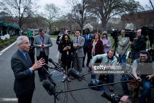 National Institute of Allergy and Infectious Diseases Director Dr Anthony Fauci speaks to the press outside the White House March 12 in Washington DC...
