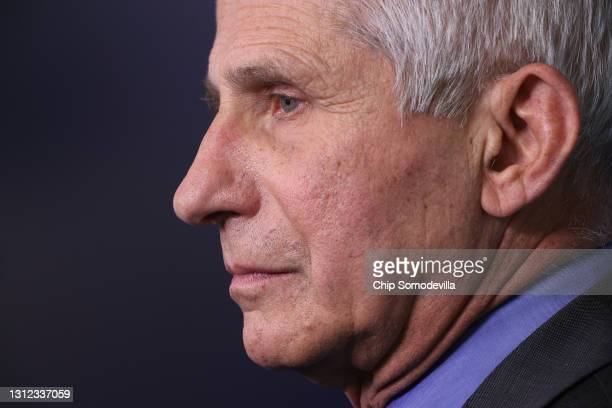 National Institute of Allergy and Infectious Diseases Director Dr. Anthony Fauci talks to reporters in the Brady Press Briefing Room at the White...
