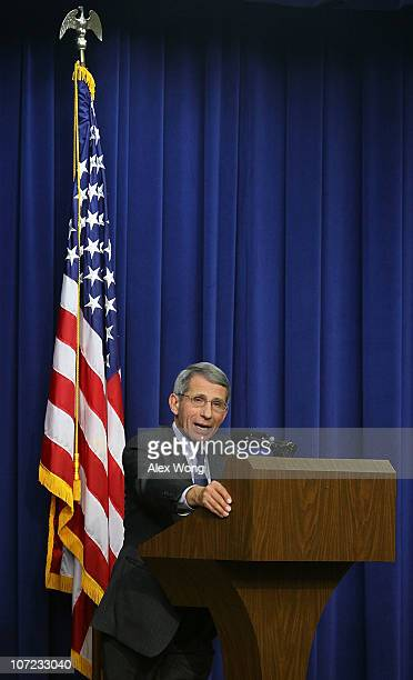 National Institute of Allergy and Infectious Diseases Director Anthony Fauci speaks during an event at Eisenhower Executive Office Building December...