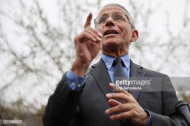 National Institute Of Allergy And Infectious Diseases Director Anthony Fauci talks to reporters about the Trump administration's response to the...
