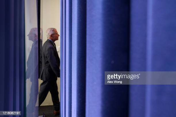 National Institute of Allergy and Infectious Diseases Director Anthony Fauci leaves after the daily briefing of the White House Coronavirus Task...