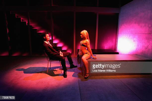 National Institute of Dramatic Art acting students Garth Holcombe and Andrea Demetriades rehearse for the stage production of Closer 2006 October 2...