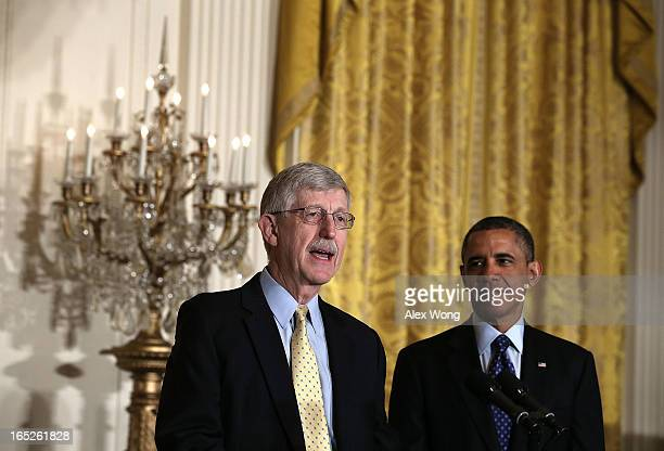 National Institutes of Health Director Francis Collins introduces US President Barack Obama during the announcement of the administration's BRAIN...