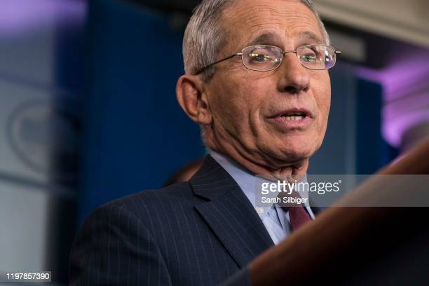 National Institutes of Health official Dr. Anthony Fauci, a member of the Trump Administration's Coronavirus Task Force, participates in a press...