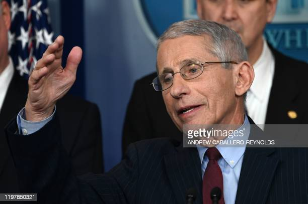 National Institutes of Health official Dr. Anthony Fauci speaks during a briefing with members of the president's Coronavirus Task Force in...