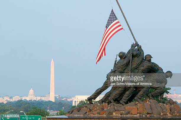 National Iwo Jima War Memorial Monument in Rosslyn Virginia overlooking Potomac and Washington DC