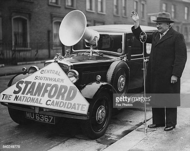 National Labour Organisation candidate for Southwark Ernest Stanford speaking to constituents with his microphone and loud speaker during the General...